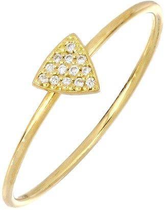 Bony Levy 18K Gold Petite Triangle Pave Diamond Ring - 0.04 ctw
