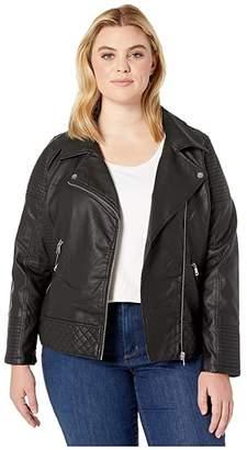 YMI Jeanswear Snobbish Plus Size Faux Leather Jersey Lined Moto Jacket