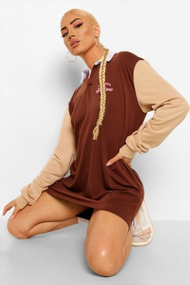 boohoo Graphic Colour Block Rugby Sweat Dress