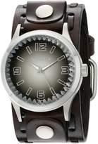 Nemesis Men's 217DBTK-K Black Gradient Pointium Series Dark Brown Wide Weaving Leather Cuff Band Analog Display Japanese Quartz Brown Watch