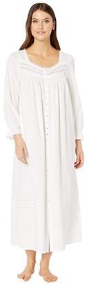 Eileen West Cotton Lawn Woven Long Sleeve Ballet Button Front Coat (White) Women's Pajama