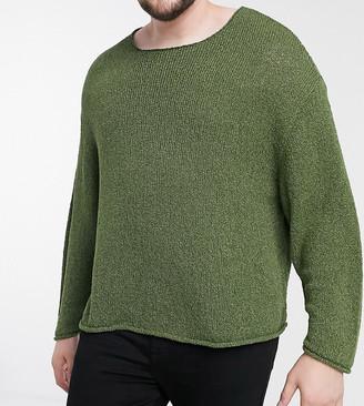 ASOS DESIGN Plus knitted oversized textured yarn sweater in dark green