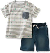Kids Headquarters Gray Stripe Tee & Denim Shorts - Infant & Boys
