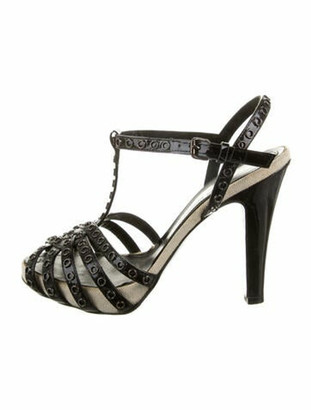 Fendi Patent Leather Studded Accents T-Strap Sandals Black