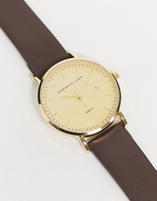 Christin Lars leather watch with gold dial