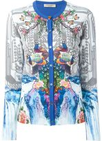 Piccione Piccione Piccione.Piccione - peacock print contrast trim button down cardigan - women - Cotton - 38