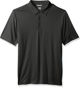 Cutter & Buck Men's Moisture Wicking Pinstripe Prevail Short Sleeve Polo Shirt
