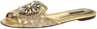 Dolce & Gabbana Gold Lace And Leather Trim Sofia Crystal Embellished Slide Flats Size 37