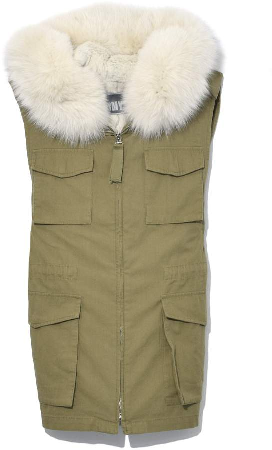 Yves Salomon Light Cotton Vest with Hood in Aloe/Vapor