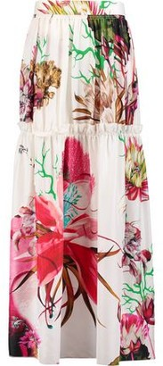 Roberto Cavalli Gathered Floral-print Silk-satin Maxi Skirt
