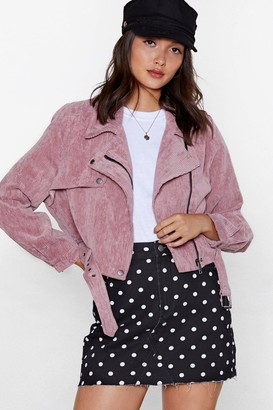 Nasty Gal Womens Pink Before You Act Corduroy Moto Jacket - S