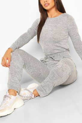 boohoo Petite Light Knit Jogger And Crop Lounge Set