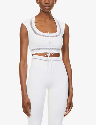 Azzedine Alaia Edition 1993 The Lace cropped stretch-woven top