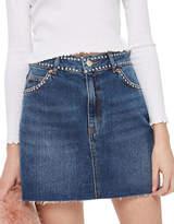 Topshop PETITE Studded Denim Skirt