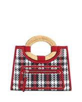 Fendi Runaway Shopping Small Tartan Straw and Century Calf Tote Bag