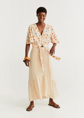 MANGO Bow cropped blouse ecru - 4 - Women