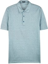 Pal Zileri Pale Teal Cotton And Silk Blend Polo Shirt