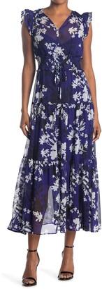 Calvin Klein Floral Ruffled Chiffon Maxi Dress