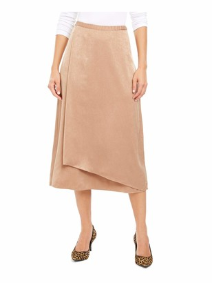 Alfani Womens Brown Solid Tea-Length Wrap Skirt UK Size:22