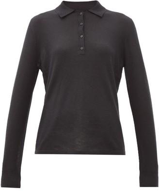 Nili Lotan Cashmere Long-sleeved Polo Shirt - Black
