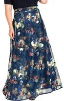 Plus Size Women's Standards & Practices Iris Floral Mesh Maxi Skirt