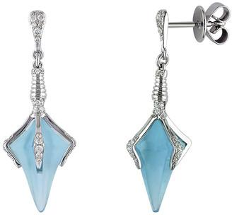 Diamond Select Cuts 14K 9.79 Ct. Tw. Diamond & Sky Blue Topaz Drop Earrings