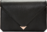 Alexander Wang Black Pebbled Leather Prisma Skeletal Envelope Clutch