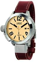 U-Boat Men's Automatic Watch with Beige Dial Analogue Display and Brown Leather Strap 8093