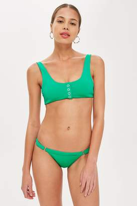 Topshop Womens Green Bonded Button Tanga Bikini Bottoms - Green