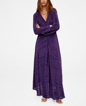 MANGO Pleated Long Dress