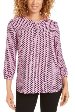 JM Collection Petite Printed Pleat-Back Top, Created for Macy's