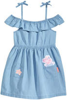 Peppa Pig Nickelodeon's Patch-Front Cotton Chambray Dress, Little Girls