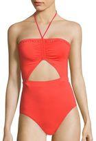 MICHAEL Michael Kors Beaded Halterneck One-Piece Swimsuit