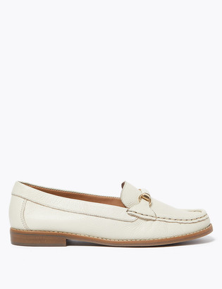 Marks and Spencer Leather Bar Flat Loafers