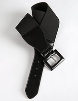 Wide Patent Detail Stretch Belt