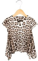 Roberto Cavalli Girls' Leopard Print Crew Neck Top w/ Tags