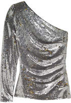 Maje One-shoulder Sequined Mesh Top - Silver