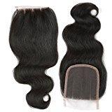 BP 3 Part Human Hair Closure, B&P Hair Virgin Brazilian Hair Body Wave 4x4 130% Density Lace Closure Natural Black