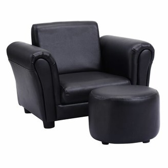 Ebern Designs Houser Kids Chair with Ottoman Color: Black