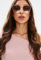 Missguided Gold Wire Cat Eye Sunglasses