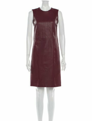 Prada Crew Neck Knee-Length Dress Red