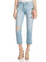 Sanctuary Slim Boyfriend Floral Embroidered Ankle Jeans in Brinley - 100% Exclusive
