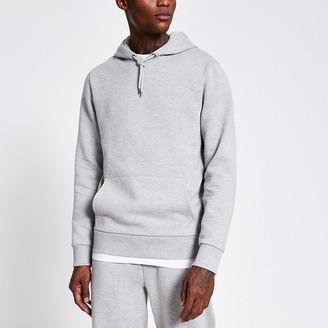 River Island Grey marl long sleeve hoodie