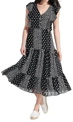 Sam Edelman Polka Dot Flutter-Sleeve Midi Dress