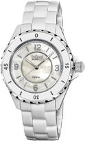 Burgi Womens White Ceramic Bracelet Watch