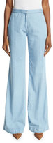 Diane von Furstenberg Katara Wide-Leg Chambray Pants, Light Indigo