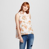 Mossimo Women's Floral Print Sleeveless Ruched Neck Tank Top