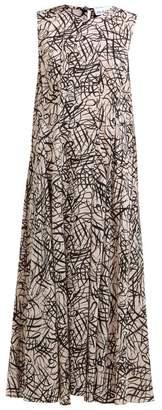 Raey Darted Squiggle Print Silk Dress - Womens - Pink Print