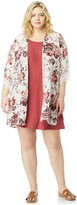 Wallflower Juniors' Plus Size WallFlower Solid Dress & Printed Kimono Set