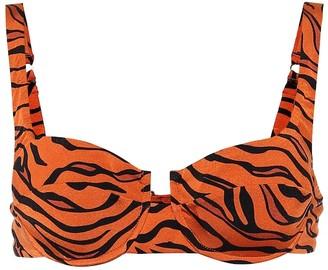Reina Olga Brigitte tiger-print bikini top